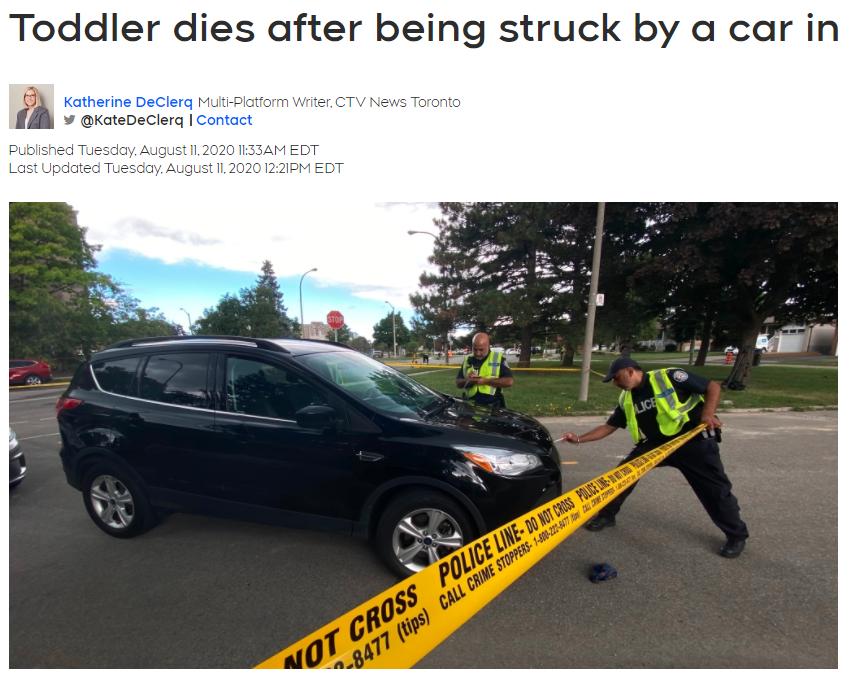 心碎!多伦多1家3口过马路被车撞倒!3岁
