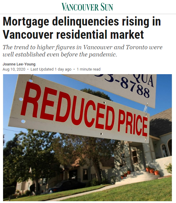 小心!多伦多和温哥华房屋按揭拖欠率上涨