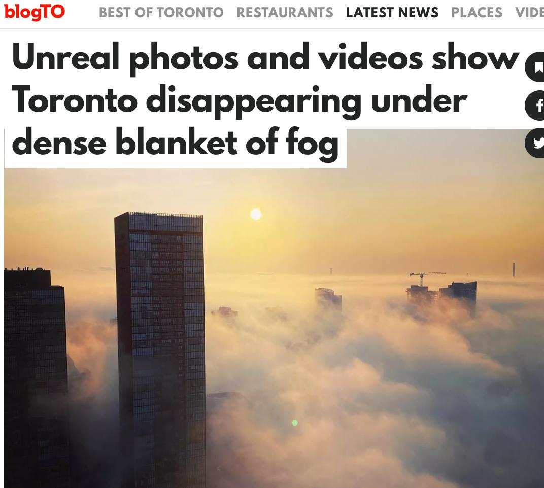 多伦多消失了?漫天云雾包裹整个城市,似